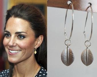 Kate Middleton Large Hoop Leaf Earrings Silver