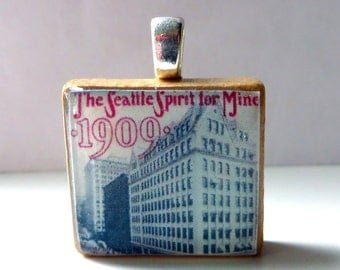 Vintage Seattle sheet music Scrabble tile pendant - The Seattle Spirit for Mine - 1909 Alaska Yukon Pacific Exposition