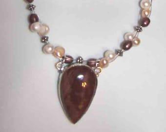 Pendant  JAsper + FW Pearl  Necklace+ earrings OOAK Boho Handmade Unique