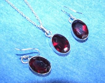 Red garnet  Sterling Silver  earrings & Pendant+ chain