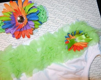 Large Green Baby Bloomer Diaper Cover and Headband SET
