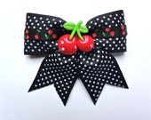 Pinup Cutie Cherries and Dots Hair Bow - Black - Rockabilly - 50s - Retro