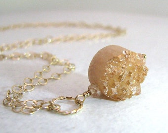 Sparkly Peach Agate Druzy Necklace, Peach Drusy Necklace, Gold, Simple Necklace, Geode Druzy, Drusy - Stardust