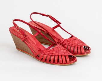 1970s Woven Leather Wedge Sandals - 70s Red High Heel Shoes - US size 7.5