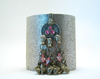 "textured metallic leather cuff bracelet with antique kuchi piece - 2.5"" wide cuff"