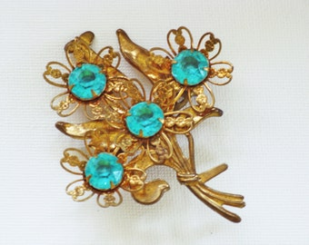 Vintage Brass Teal Blue Rhinestone Floral Brooch Pin (B-1-4)