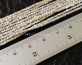 Hill Tribe Silver 1.5-1.6mm Faceted (Corner Cut) Tiny silver beads (50 beads)