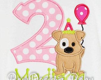 Personalized Dog Birthday Shirt, Number, Monogrammed, Appliqued, Custom Fabric, Girls Birthday Shirt, Shirt,Tank,Bodysuit,Romper,Gift