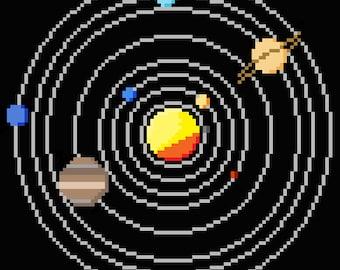 Solar System Circular Cross Stitch Pattern