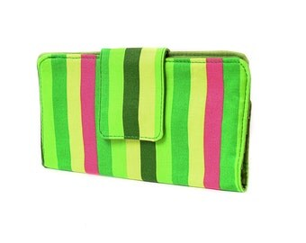 Two fold Wallet. Water resistant. Stripes in green and magenta. 6 card slots, 2 wide slots, 2 zipper pockets.