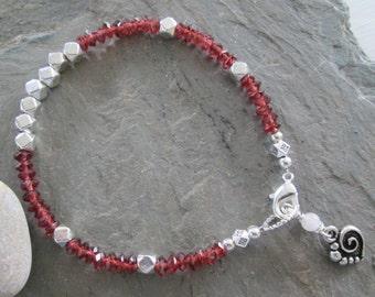 Garnet & Silver Charm Bracelet with Rose Quartz - Zen style jewelry