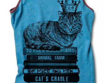 Womens CAT SHIRT King Cat Racerback Cat Tank Top for yoga sitting on books wearing crown S M L XL skip n whistle