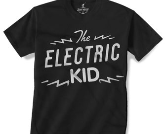 ELECTRIC KID -- KIDS T shirt --lightning bolt (7 color choices) Size 2t, 3t, 4t, youth xs, yth sm, yth med, yth lg skip n whistle