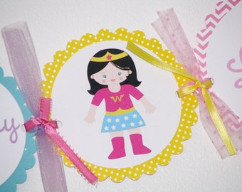 Super Girl Happy Birthday Banner For GIRLS Superhero Party Chevron Pattern
