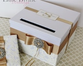Wedding Card Box White Ivory and Champagne Gold Ivory Money Holder Customizable in Your Color