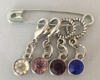 Knit and crochet stitch markers, crystals set of 4, two knit an two crochet markers