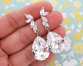 Ida - Whimsical Fairy Style Cubic Zirconia Earrings with Swarovski Clear Teardrop Crystal, Bridal, Bridesmaids, jewelry, fairy tale, wedding