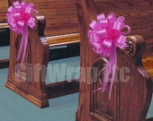 6 Fuchsia Hot Pink Pull Bows Wedding Pew Valentines Gift Church Party Balloon Decorations