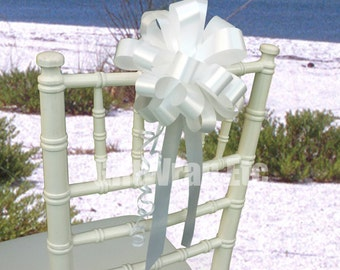 6 White Pull Bows Wedding Pew Chair Gift  Decorations