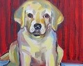 Yellow Lab Puppy (Labrador Retriever) Art Print - FREE shipping USA