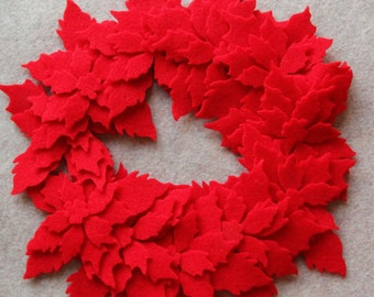 ALL RED - Tattered Poinsettias- 36 Die Cut Wool Blend Felt Flowers