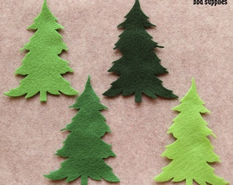 Green Day - Large Christmas Trees - 12 Die Cut Felt Shapes