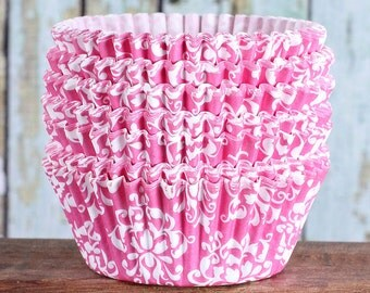 Pink Damask Cupcake Liners, Pink Cupcake Wrappers, Pink Cupcake Cases, Stay Bright Greaseproof Cupcake Liners, Pink Baking Cups (50)