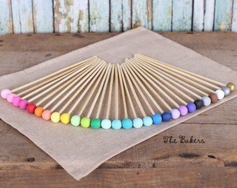 Wooden Lollipop Sticks - PICK ONE COLOR, Rock Candy Sticks, Cake Pops Sticks, Marshmallow Pop Sticks, Wedding Cake Pops, Wooden Sticks (12)