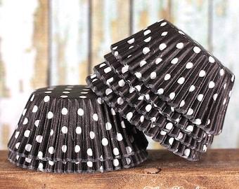Black Polka Dot Cupcake Liners, Black Cupcake Wrappers, Black Baking Cups, Halloween Cupcake Liners, Halloween Baking Cups, Muffin Papers