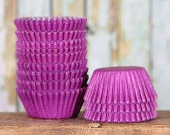 MINI Purple Cupcake Liners, Mini Purple Baking Cups, Mini Purple Cupcake Wrappers, Purple Candy Cups, Mini Cupcake Liners (100)
