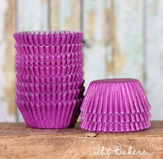 MINI Purple Cupcake Liners, Mini Purple Baking Cups, Mini Purple Cupcake Wrappers, Purple Candy Cups, Mini Cupcake Liners (100)