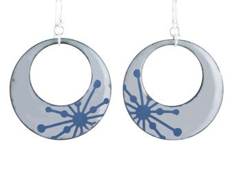 Blue Starburst Mod Circle Enamel Earrings