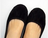 ISLANDER- Ballet Flats - Suede Shoes - 38- Black. Available in different sizes