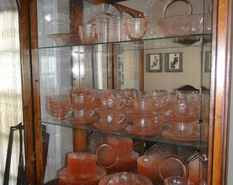 1930s Macbeth-Evans American Sweet Heart Pink Depression Glass 12 Place Setting Tableware