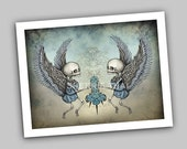 Skeleton Angels and Roses, Dark Fantasy Gothic Art Print, Sale
