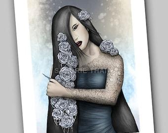 Isolated Wisdom, Tattooed Girl with Roses, Dark Fantasy Gothic Art Print, Sale