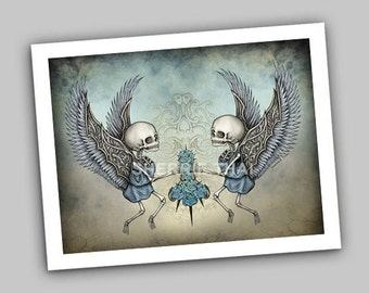 Skeleton Angels and Roses, Dark Fantasy Gothic Art Print, Sale