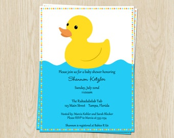 Little Duck Baby Shower Invitations, Blue, Yellow, Set of 10 Printed Cards with Envelopes, FREE Shipping, RUDGN, Rubber Ducky Neutral