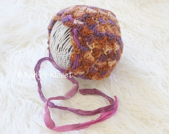 Baby Girl Bonnet, Newborn Photo Props, Purple & Brown Newborn Bonnet, Girls Photo Prop, Newborn Prop Hat, Baby Girl Bonnet, Crochet Baby Hat
