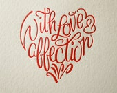 """Lettepress Valentine card, """"With love and affection"""" Red"""