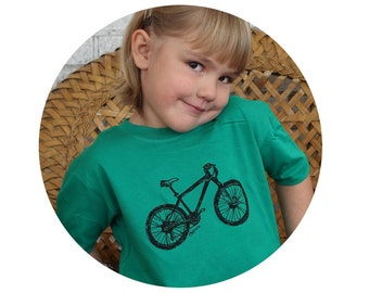 Youth Mountain Bike T Shirt, Children's TShirt, Toddler Graphic Tee, Kelly Green, Bicycle, Short Sleeved Tshirt, Cotton  Screenprinted Shirt