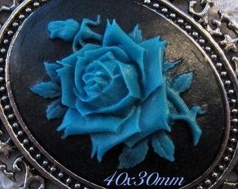 "40x30mm Cameo - Dusky Blue/Black - ""Rose Solitaire"" - 1 pc : sku 02.01.14.8 - J23"
