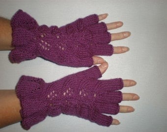 Hand-knitted dark lilac women fingerless gloves