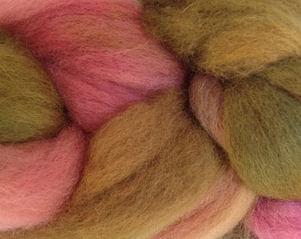 Wool Roving Hand Dyed in Prickly Pear Pink Olive