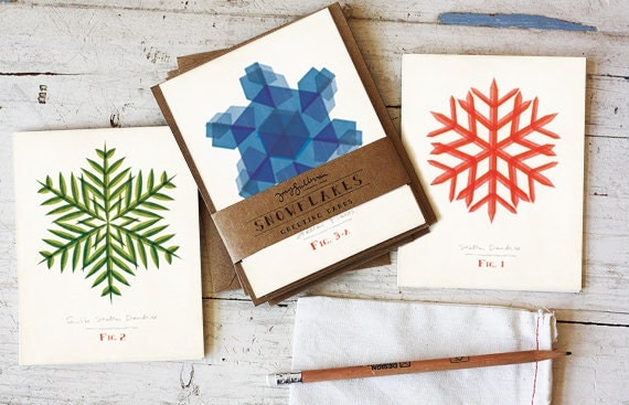 Modern Snowflake Holiday Greeting Card Set of 8 with Matching Kraft Envelopes
