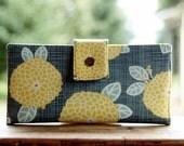 Handmade womens wallet all vegan dahlias in yellow