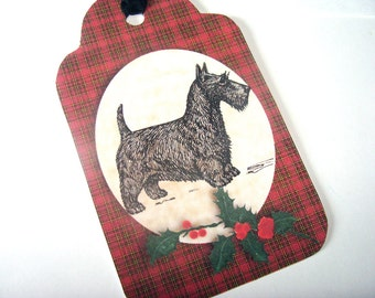 Scottie Dog Tags -  Set of 8 - Vintage Look - Gift Tags - Dog Tags -  Cottage Chic - Thank Yous - Animal Tags - Dog Lovers - Black Scotties