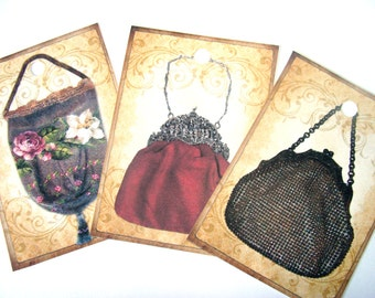 Victorian Purse Tags - Set of 8 - Vintage Purse Tags - Women Fashion - Handbag Tags - Victorian Style - Thank Yous - Elegant Purses -