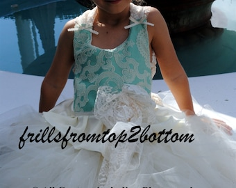 Ivory Teal / Turquoise Lace Flower Girl Dress . available in sizes up to a 5T