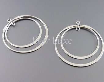 2 rotating double rings gems and charm connectors | silver rotary links 912-MR